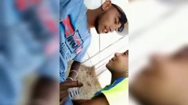 Two high school students good time on campus